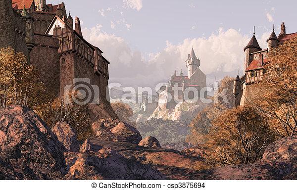 kasteel, dorp, middeleeuws, tijden - csp3875694