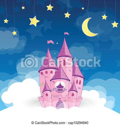 kasteel, vector, droom, prinsesje - csp10294940