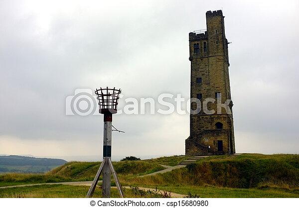 kasteel, victoria, heuvel, toren - csp15680980