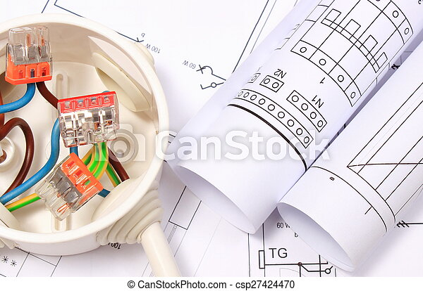 Kasten, baugewerbe, elektrisch, kabel, zeichnung, diagramme. Kasten ...