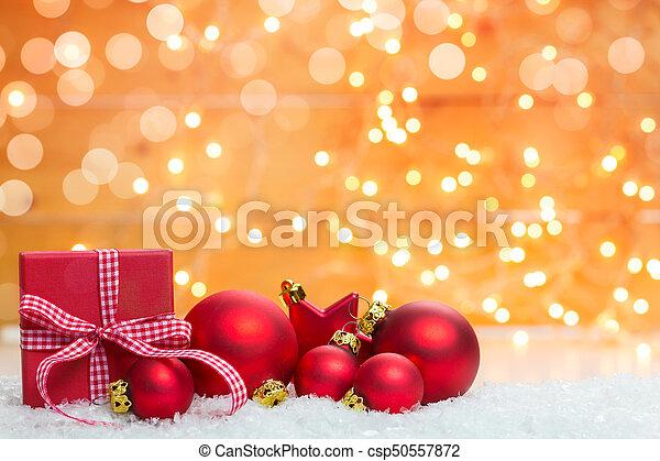 kasten, dekorationen, geschenk, hintergrund, weihnachten - csp50557872
