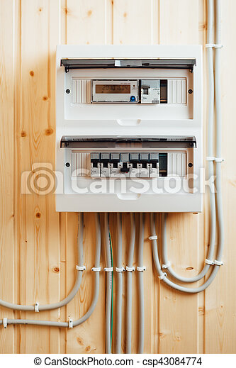 Kasten, Elektrizität, Haus, (fusebox), Hölzern, Sicherungen, Verteilung,