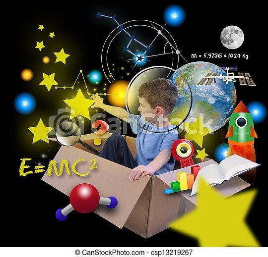 kasten, junge, raum, wissenschaft, schwarz, sternen - csp13219267