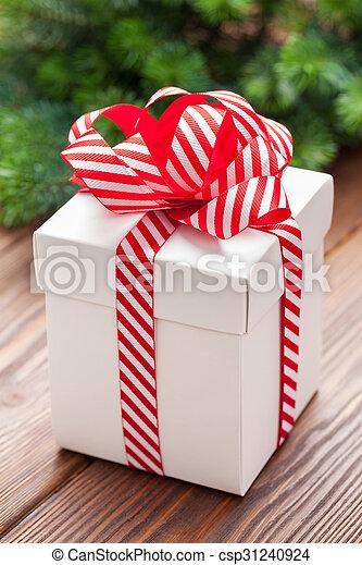 kasten, tanne, geschenk, baum- niederlassung, weihnachten - csp31240924