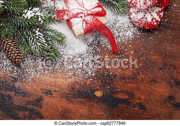 kasten, tanne, weihnachtsgeschenk - csp62777846