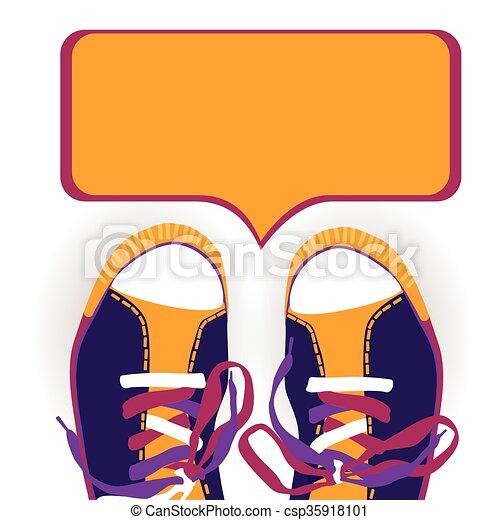 Kasten, trainieren schuhen, bunte, tragen, unterhaltung, fuß