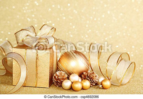 kasten, weihnachtsgeschenk - csp4692086