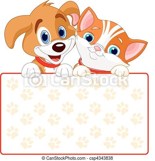 kat, dog, meldingsbord - csp4343838