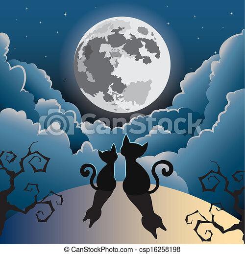 kat, maan, volle, onder - csp16258198