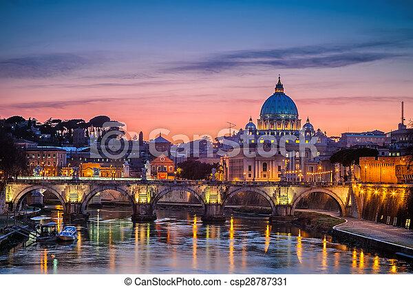 kathedraal, straat. peter, nacht, rome - csp28787331