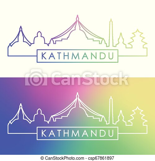 Kathmandu skyline. Estilo lineal colorido. - csp67861897