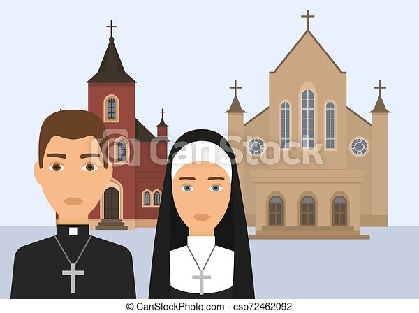 katolikus, keresztény, illustration., háttér., székesegyház, betű, lelkipásztor, elszigetelt, apáca, vallás, vektor, templom áthalad, fehér, vagy, catholisism - csp72462092