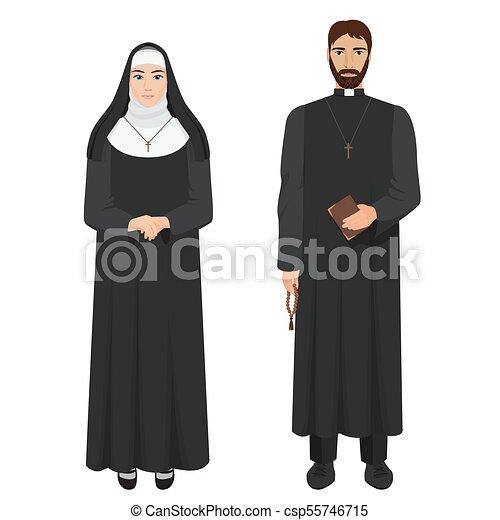 katolikus, nun., lelkész, illustration., gyakorlatias, vektor - csp55746715