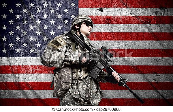 katona, american lobogó, háttér - csp26760968