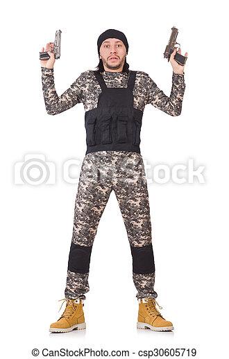katona, fehér, kézifegyver, elszigetelt, kaukázusi - csp30605719