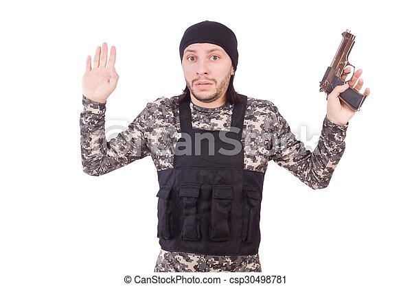 katona, fehér, kézifegyver, elszigetelt, kaukázusi - csp30498781