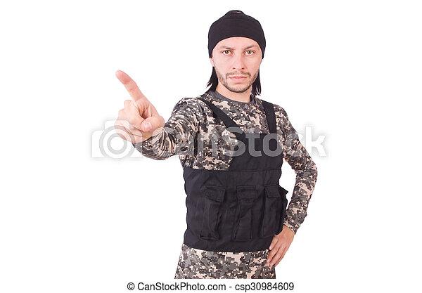 katona, fehér, kézifegyver, elszigetelt, kaukázusi - csp30984609
