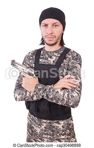 katona, fehér, kézifegyver, elszigetelt, kaukázusi - csp30498899
