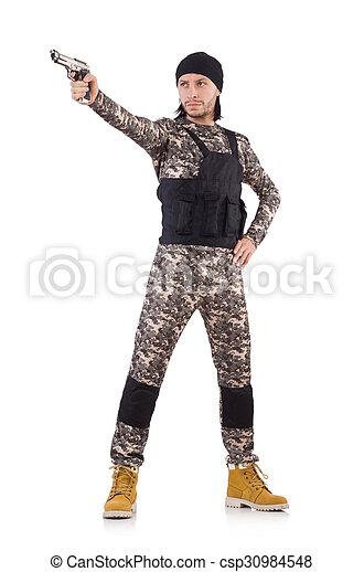 katona, fehér, kézifegyver, elszigetelt, kaukázusi - csp30984548