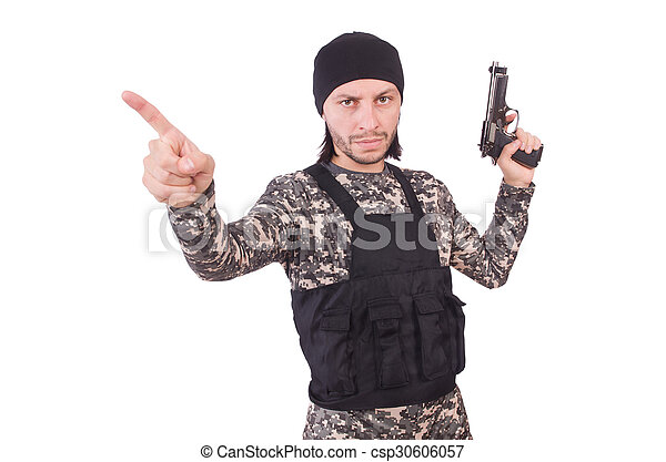 katona, fehér, kézifegyver, elszigetelt, kaukázusi - csp30606057