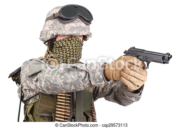 katona, fehér, kézifegyver, háttér, bennünket - csp29573113