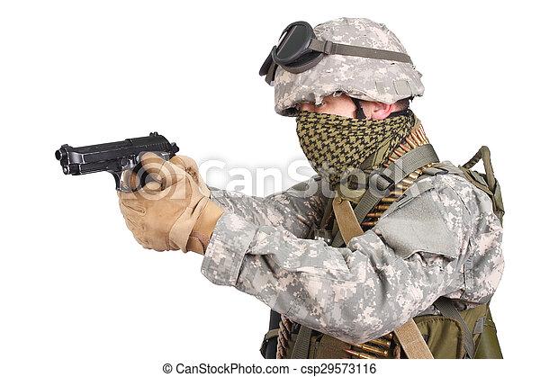 katona, fehér, kézifegyver, háttér, bennünket - csp29573116