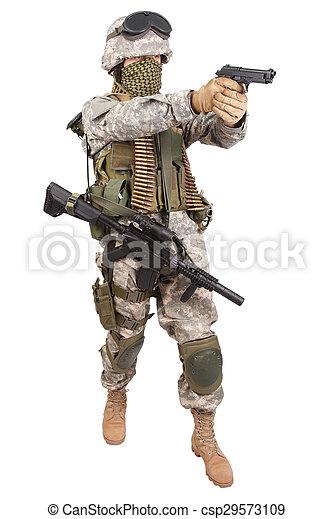 katona, fehér, kézifegyver, háttér, bennünket - csp29573109
