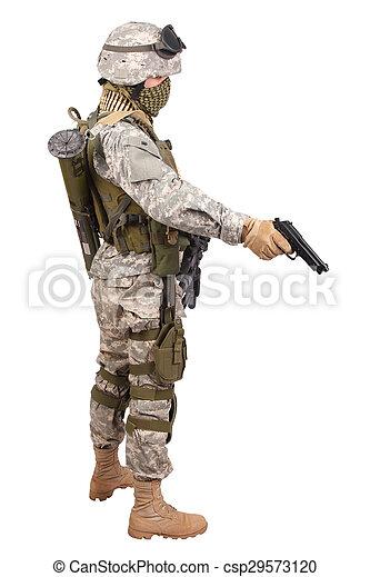 katona, fehér, kézifegyver, háttér, bennünket - csp29573120