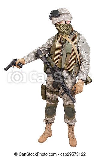 katona, fehér, kézifegyver, háttér, bennünket - csp29573122