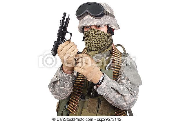 katona, fehér, kézifegyver, háttér, bennünket - csp29573142