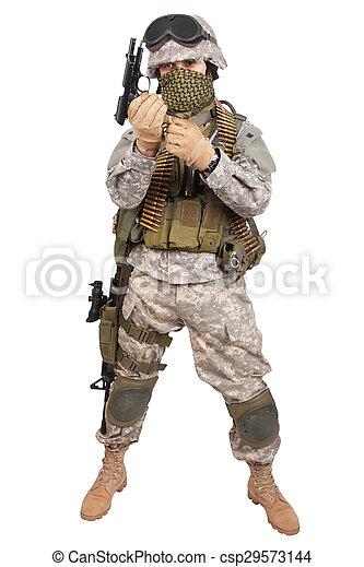 katona, fehér, kézifegyver, háttér, bennünket - csp29573144