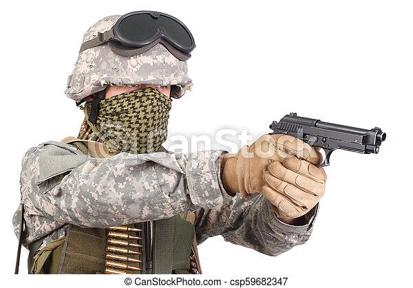 katona, kézifegyver, bennünket - csp59682347