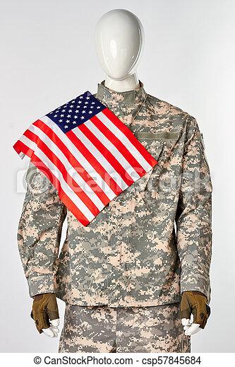 katona, lobogó, övé, amerikai, shoulder. - csp57845684