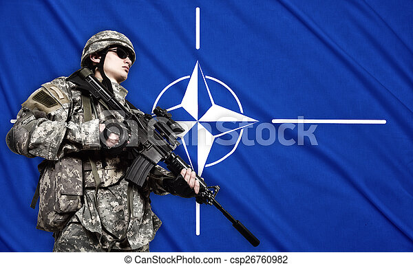 katona, lobogó, nato, háttér - csp26760982