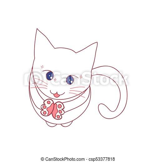 Katzen betteln um Essen. Vector Illustration - csp53377818