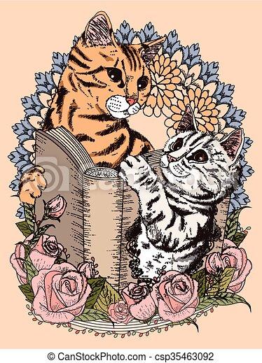 Katzen, färbung, bezaubernd, seite. Färbung, -, buch,... EPS ...