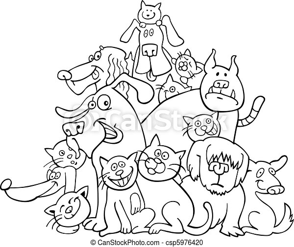 Katzen, färbung, hunden. Katzen, farbton- buch, abbildung,... Vektor ...
