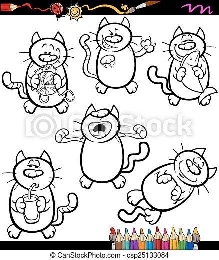 Katzen, färbung, satz, karikatur, buch. Lustiges, färbung,... Vektor ...