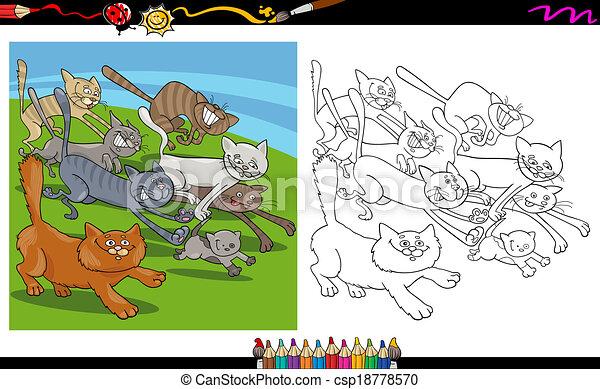 Katzen, rennender , färbung, karikatur, seite. Färbung,... Vektoren ...