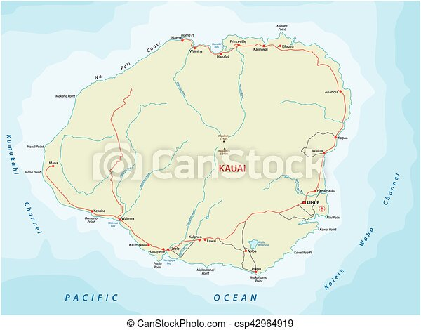Kauai road map vector clip art search illustration drawings and kauai road map csp42964919 gumiabroncs Image collections