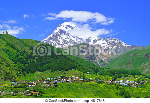 kaukázus, hegyek, falu - csp14617648