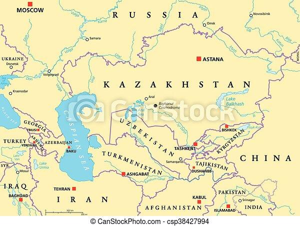 Kaukaz Polityczny Srodkowa Azja Kaukaz Mapa Glowny