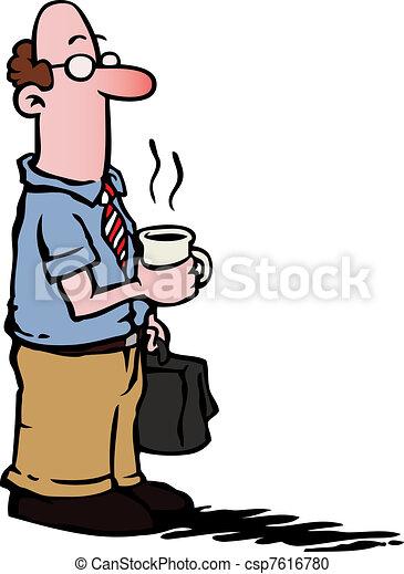 kawa, handlowy, /, pracownik, posiadanie, człowiek - csp7616780
