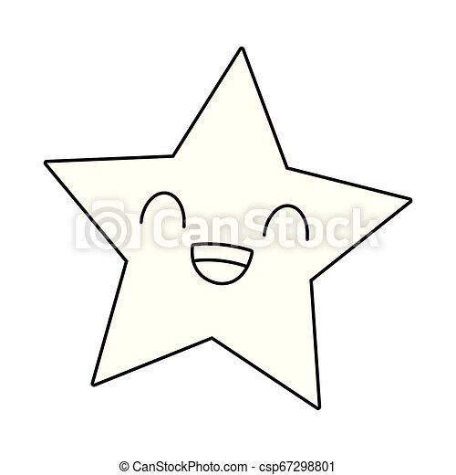Kawaii étoile Dessin Animé Noir Blanc Sourire