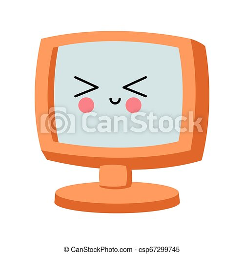 kawaii, οθόνη , ηλεκτρονικός υπολογιστής , γελοιογραφία  - csp67299745