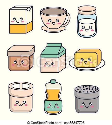 Kawaii Alimento Pequeno Almoço Desenho