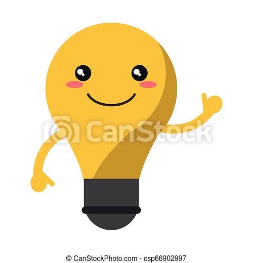 kawaii, ampoule, sourire, dessin animé, lumière - csp66902997