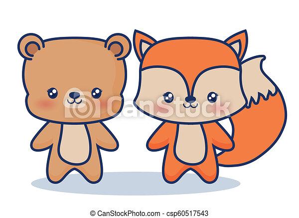 Kawaii Animais Desenho Kawaii Coloridos Sobre Raposa Urso
