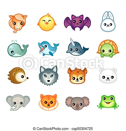 Image of: Bear Kawaii Animals Set Ii Csp50304725 Can Stock Photo Kawaii Animals Set Ii Cute Animal Heads With Emotions In Japanese