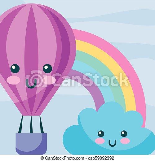 Kawaii Arc En Ciel Balloon Air Chaud Dessin Animé Nuage